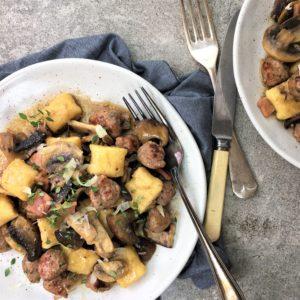 Mushroom gnocchi with meatballs - quick & simple ricotta gnocchi with a meatball & mushroom sauce