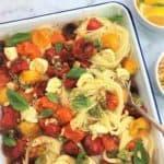 Tomato mozzarella pasta with pesto crumbs - oven roasted cherry tomatoes bocconcini caprese
