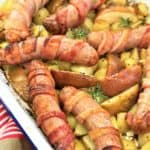 bacon wrapped sausages with apples & potatoes - one pot, one pan, tray bake, winter veg, fall