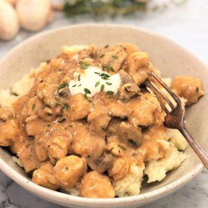 quick simple chicken bacon mushroom stew stroganoff style stew