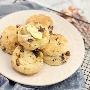 Easy Date Scones - moist, fluffy date scones. No need to rub the butter into the flour, just a quick mix and they're done! Also egg free!