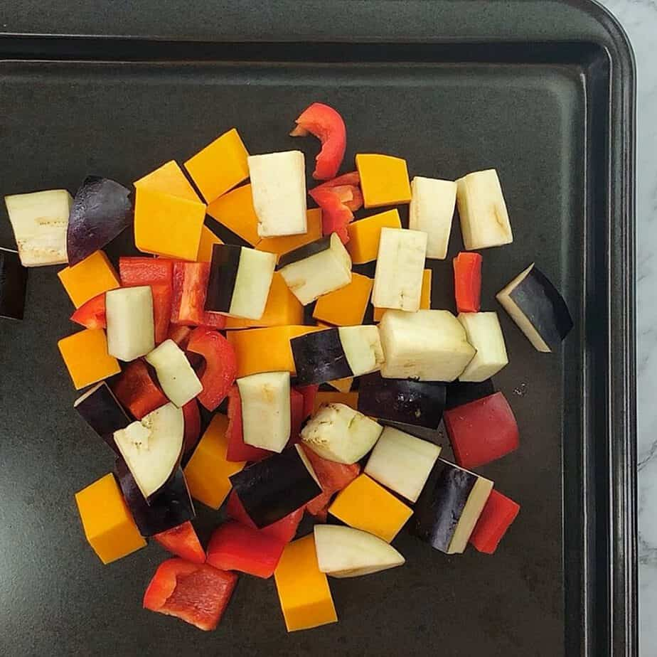 process shots showing how to make roasted veg couscous