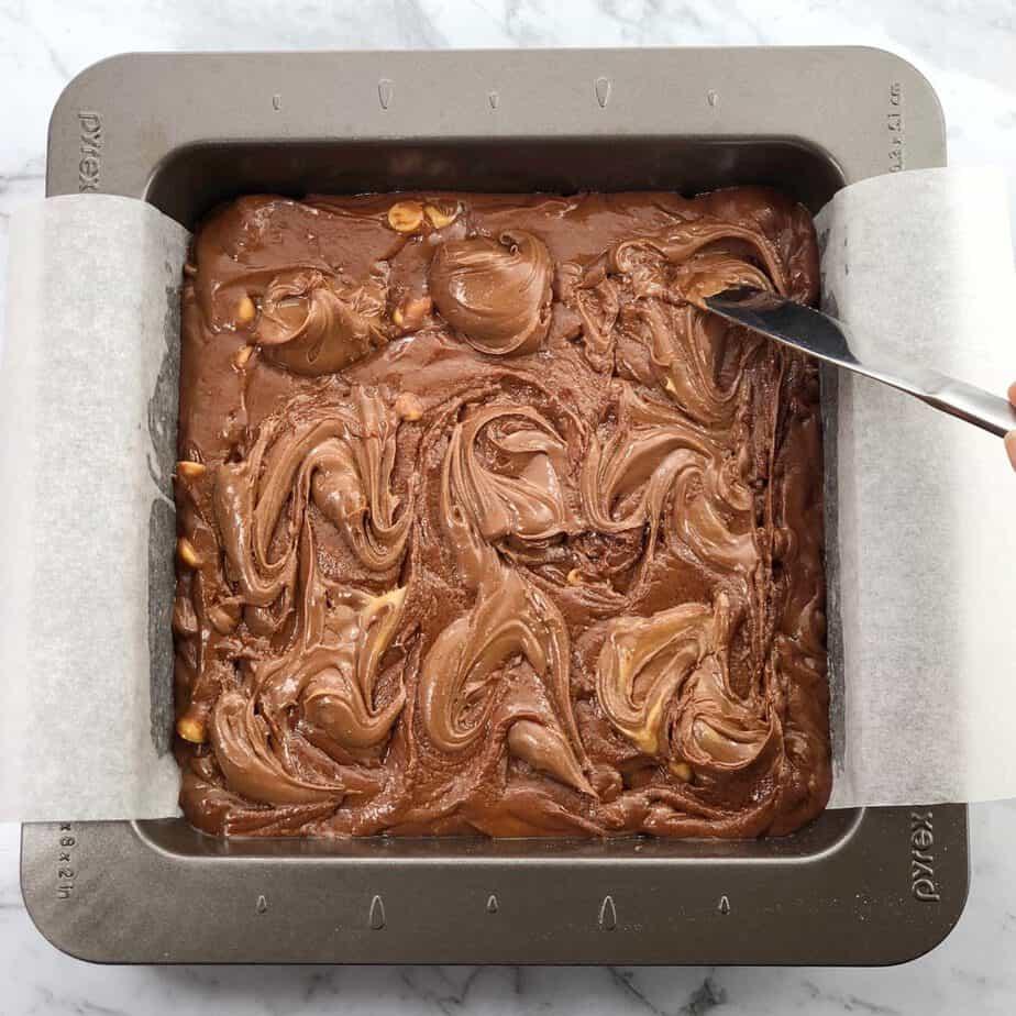 Peanut Butter Nutella Brownies process shot