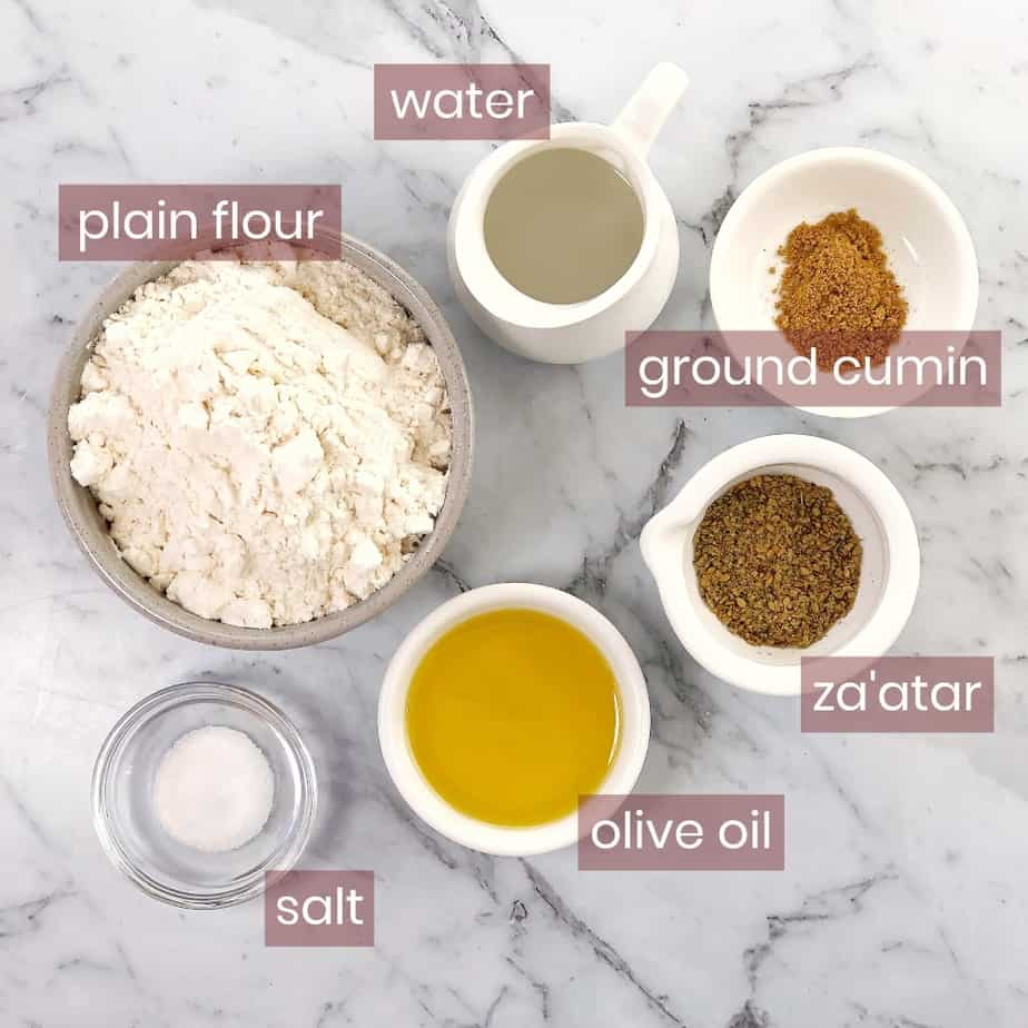 graphic of ingredients for lavosh crackers