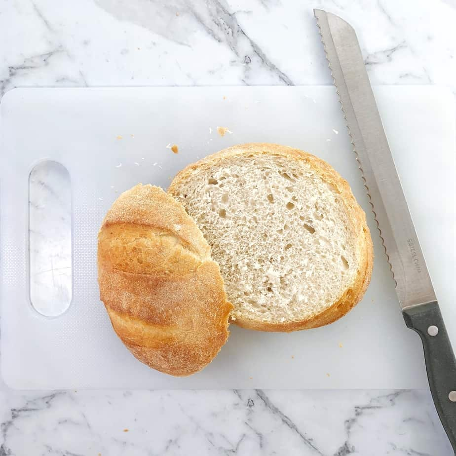 process shot showing how to make bread bowl recipe
