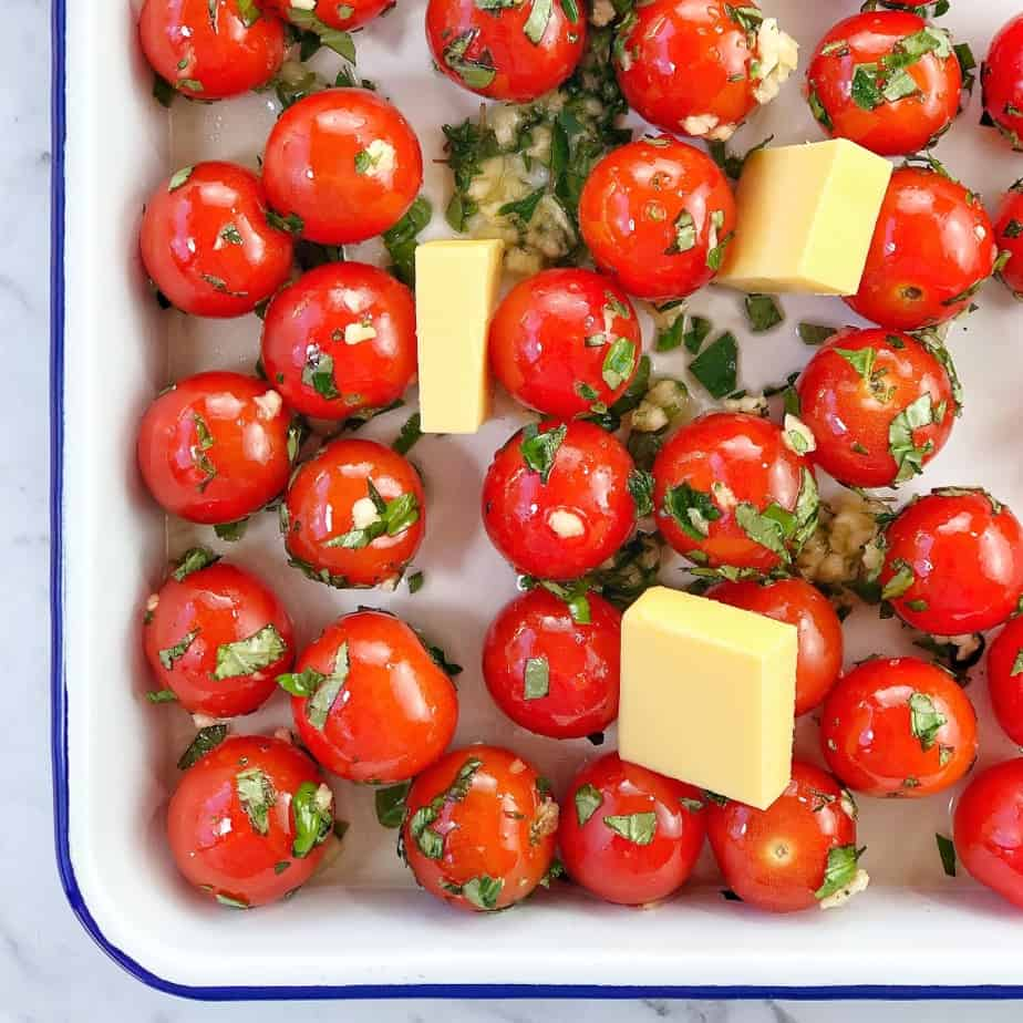 step by step photo showing how to make cherry tomato chicken pasta recipe