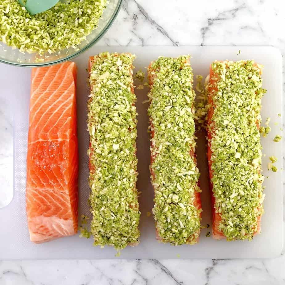 process shot showing how to make baked pesto salmon