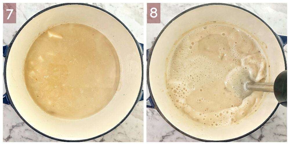 process shot showing how to make potato soup