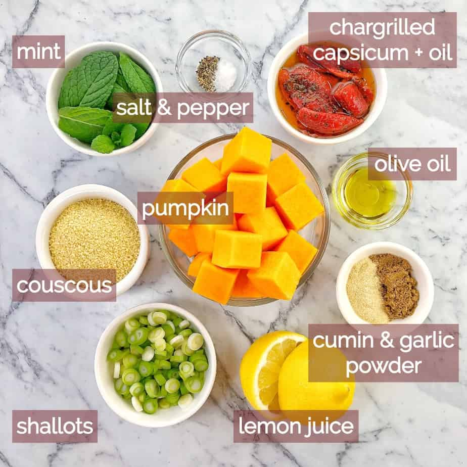 graphic showing ingredients needed to make pumpkin couscous salad