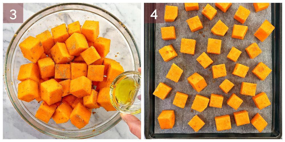 process shots showing how to make pumpkin couscous salad