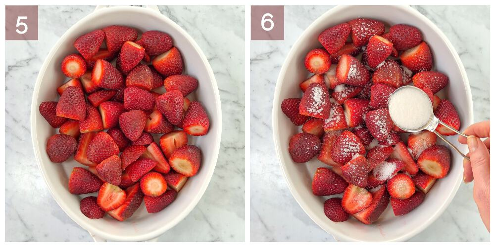 process shot showing how to cook roasted strawberry crumble
