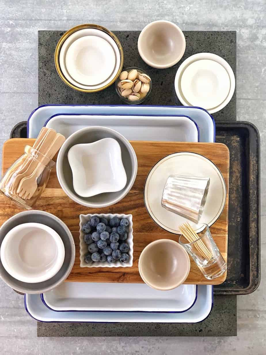collection of ramekins, bread boards and baking trays