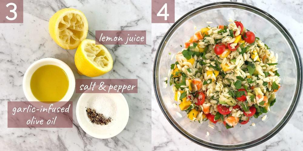 process shots showing how to make shrimp mango avocado salad