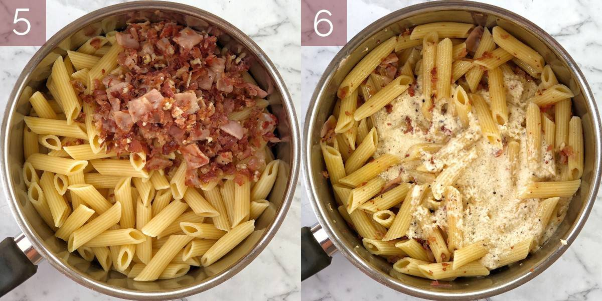 process shots showing how to cook pasta recipe