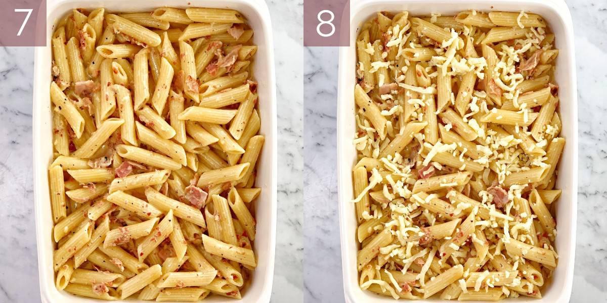 images showing process of cooking carbonara pasta bake