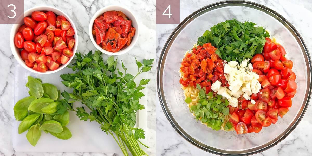 process shot showing method of cooking pasta salad recipe