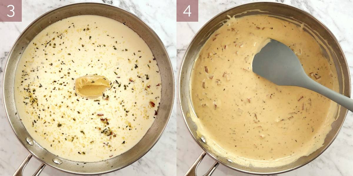photographs showing process of cooking sauce recipe